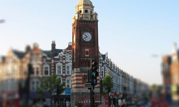 Crouch End Clock-tower and shops
